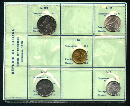 1975 - ITALIA - SERIE IN CONFEZIONE PRIVATA 5 MONETE FIOR DI CONIO - LOTTO/M30661