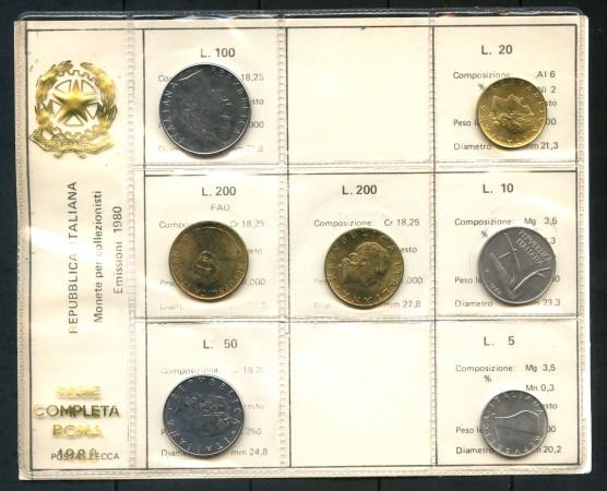 1980 - ITALIA - SERIE IN CONFEZIONE PRIVATA 7 MONETE FIOR DI CONIO - LOTTO/M30666