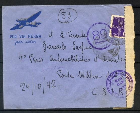 1942 - REGNO - BUSTA  VIA AEREA DA TORINO PER POSTA MILITARE  - LOTTO/30684