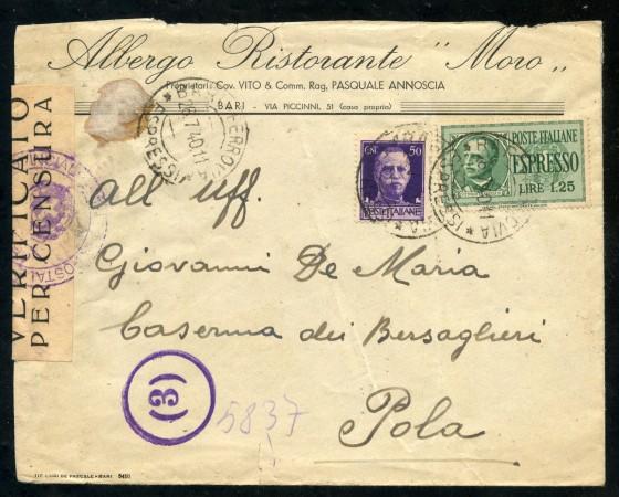 1940 - REGNO - BUSTA PER ESPRESSO DA NAPOLI A POLA - LOTTO/30415