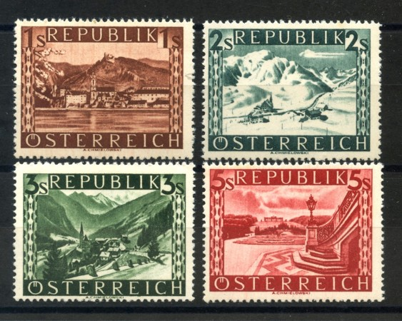 1945 - AUSTRIA - VEDUTE VALORE IN SCELLINI  FONDO PIENO 4v. NUOVI - LOTTO/34053
