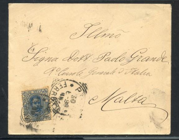 1898 - REGNO - 25 CENT. SU BUSTA PER MALTA - LOTTO/30405