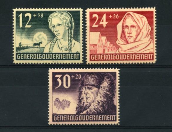 1940 - LOTTO/15113 - POLONIA OCC. TEDESCA - ANNIV. GOVERNO 3v. - NUOVI