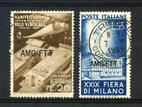 1951 - TRIESTE  A -  FIERA DI MILANO 2v. - USATI - LOTTO/14698