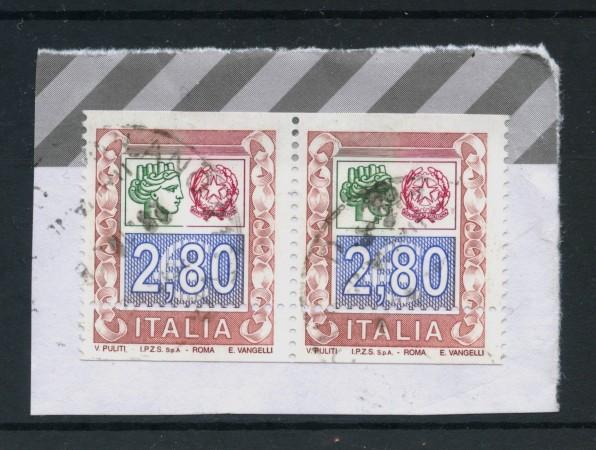 2004 - REPUBBLICA - 2,80 Euro SIRACUSANA E CIFRA - COPPIA USATI - VARIETA' - LOTTO/30153