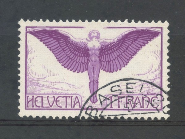 1924/36 - SVIZZERA - 1 FR. POSTA AEREA - ICARO POSTA AEREA - USATO - LOTTO/30672