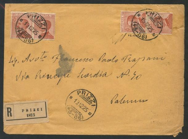 1925  - REGNO -  30 CENT. EFFIGIE SU BUSTA DA PRIZZI A PALERMO - LOTTO/30410