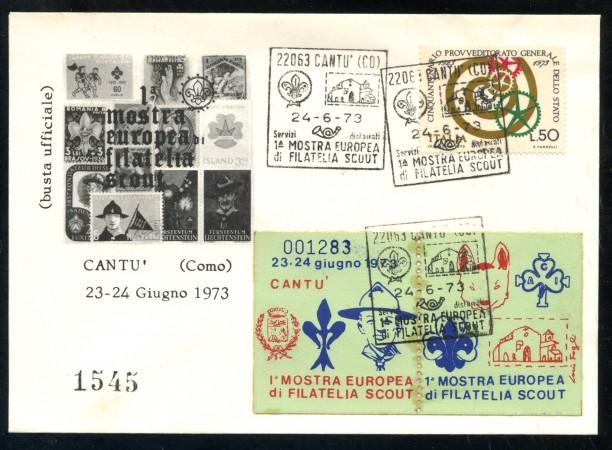 1973 - CANTU' (CO) 1° MOSTRA EUROPEA DI FILATELIA SCOUT - BUSTA - LOTTO/31216