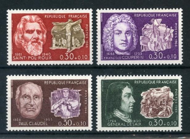 1968 - FRANCIA - UOMINI ILLUSTRI 4v. - NUOVI - LOTTO/25972