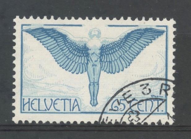1924/36 - SVIZZERA - 65 CENT. POSTA AEREA - ICARO POSTA AEREA - USATO - LOTTO/30671