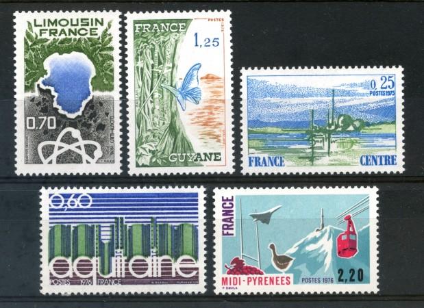 1976 - FRANCIA - LE REGIONI FRANCESI 5v. - NUOVI - LOTTO/30080