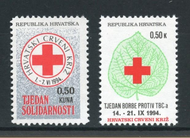 1994 - CROAZIA - BENEFICENZA - CROCE ROSSA 2v.  - NUOVI - LOTTO/32640