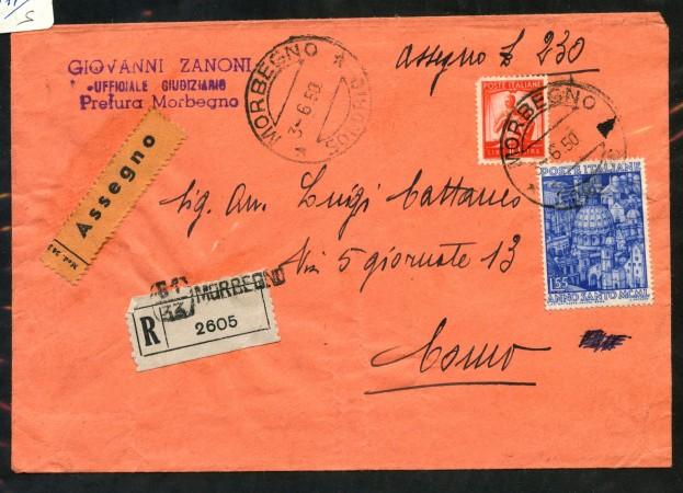 1950 - REPUBBLICA - 55 LIRE ANNO SANTO RACCOMANDATA CONTRO ASSEGNO - LOTTO/30408