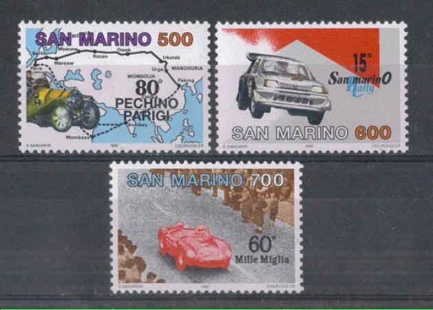 1987 - LOTTO/8074 - SAN MARINO - COMPETIZIONI AUTOMOBILISTICHE 3v. - NUOVI