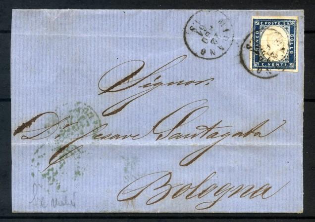 1861 - SARDEGNA - 20 CENT. OLTREMARE SCURO SU PIEGHEVOLE DA MILANO A BOLOGNA - LOTTO/30675