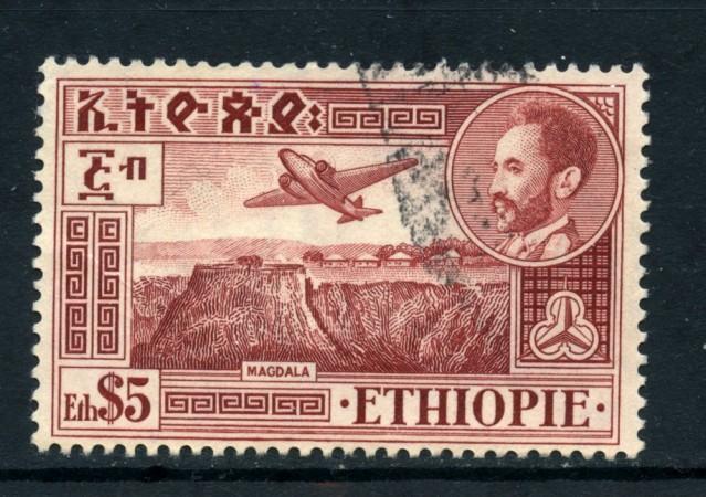 1947/55 - ETHIOPIA - POSTA AEREA 5d. MAGDALA - USATO - LOTTO/25507