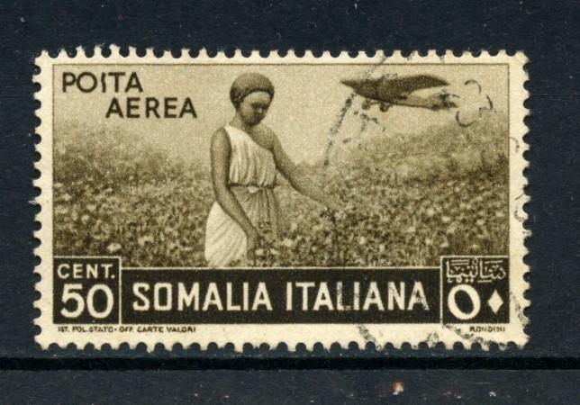 1936 - SOMALIA - 50c. POSTA AEREA PITTORICA - USATO - LOTTO/30209