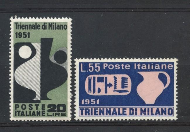 1951 - REPUBBLICA - 9° TRIENNALE DI MILANO 2v . NUOVI - LOTTO/30322
