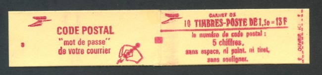 1979 - FRANCIA - 1,30 FR. SABINE LIBRETTO DI 10 FRANCOBOLLI NUOVI - LOTTO/30625