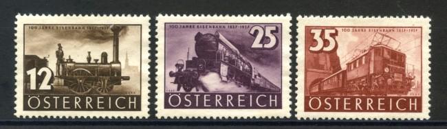1937 - AUSTRIA - CENTENARIO FERROVIE 3v. LINGUELLATI - LOTTO/34049