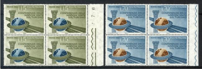 1963 - LOTTO/6417Q - REPUBBLICA - CONFERENZA TURISMO 2v. - QUARTINE NUOVI