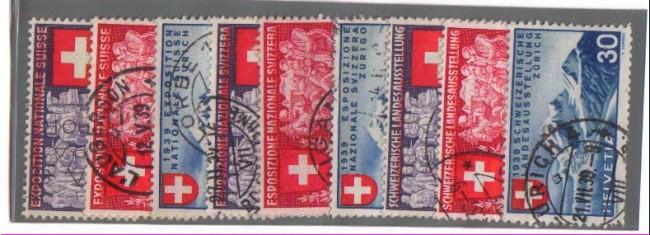 1939 - LBF/2849 - SVIZZERA - ESPOSIZIONE DI  ZURIGO 9v. - USATI
