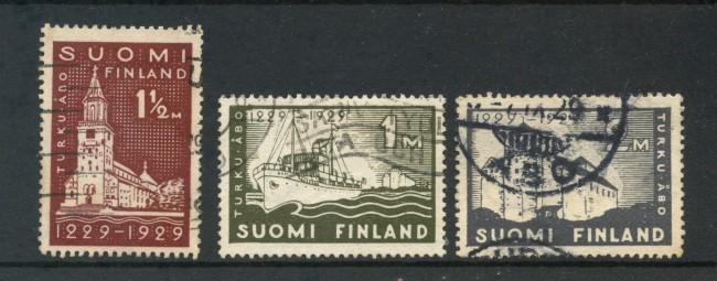 1929 - FINLANDIA - CITTA' DI TURKU  3v. - USATI - LOTTO/3486