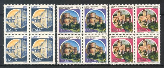1981 - LOTTO/6745Q - REPUBBLICA - CASTELLI 3v. - QUARTINE NUOVI