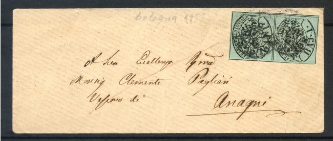 1852 - STATO PONTIFICIO - 1 BAJ VERDE GRIGIASTRO COPPIA  SU BUSTA PER ANAGNI - LOTT/30679