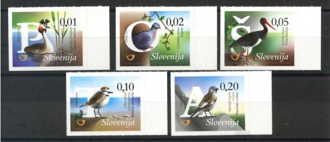 2015 - SLOVENIA - UCCELLI 5v. - NUOVI ADESIVI - LOTTO/34603