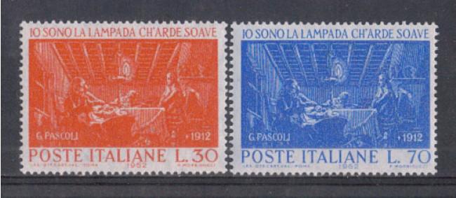 1962 - LOTTO/6399 - REPUBBLICA - GIOVANNI PASCOLI 2v.