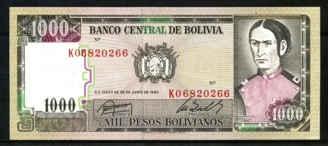 1982 -  BOLIVIA - 1000 PESOS  JUANA AZURDUY - LOTTO/30178