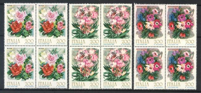 1981 - LOTTO/6736Q - REPUBBLICA - FIORI 1° SERIE 3v. - QUARTINE NUOVI