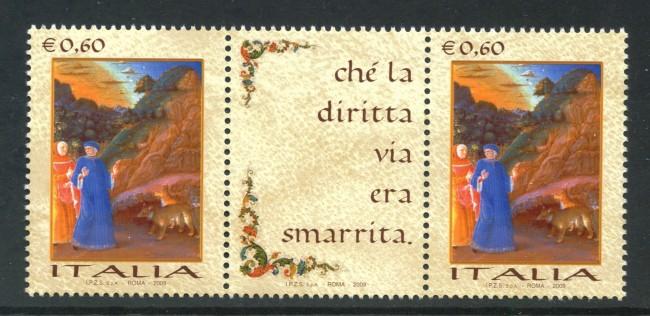 2009 - LOTTO/13772A - REPUBBLICA - GIORNATA LINGUA ITALIANA COPPIA CON BANDELLA CENTRALE - NUOVO