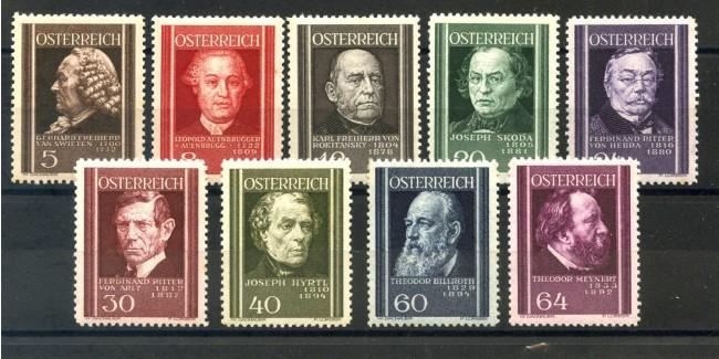 1937 - AUSTRIA - MEDICI AUSTRIACI 9 v. NUOVI - LOTTO/34052