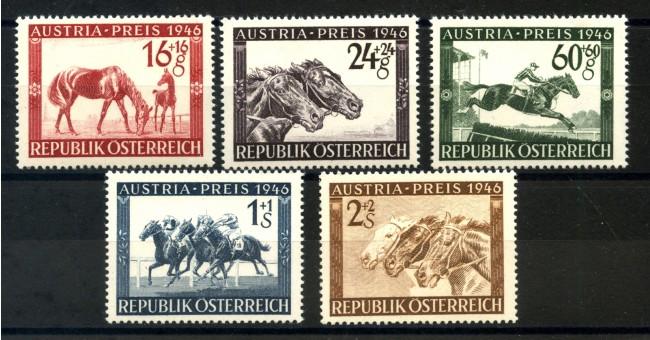 1946 - AUSTRIA - GRAN PREMIO IPPICO 5v. NUOVI - LOTTO/34057