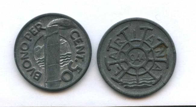 1944 - LOTTO/14741 - ITALIANA - NAVIGAZIONE LARIANA BUONO DA  50 CENTESIMI