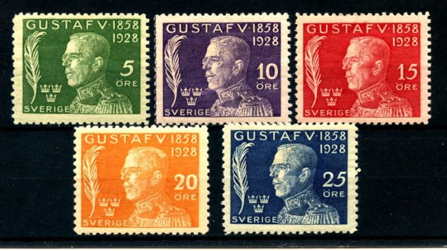 1928  SVEZIA - 70° COMPLEANNO RE GUSTAVO 5v. - CON LINGUELLA - LOTTO/25036