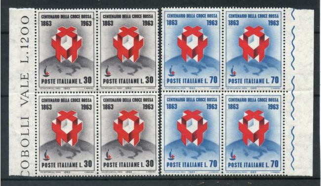 1963 - LOTTO/6416Q - REPUBBLICA - CROCE ROSSA 2v. - QUARTINE NUOVI