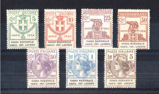 1924 - LOTTO/11419 - REGNO - CASSA NAZIONALE ASSIC. INF. LAVORO  7v. - LING.