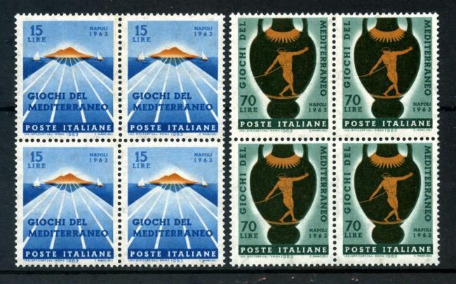 1963 - LOTTO/6419Q - REPUBBLICA - GIOCHI DEL MEDITERRANEO 2v. - QUARTINE NUOVI