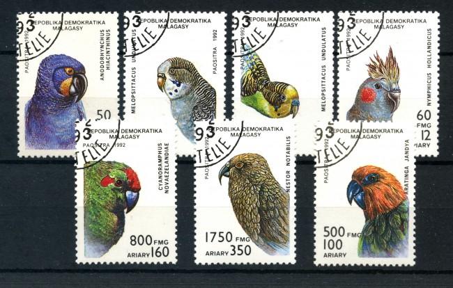 1992 - MADAGASCAR - PAPPAGALLI 7v. - USATI - LOTTO/19273