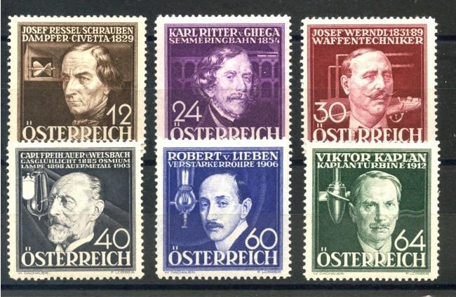 1936 - AUSTRIA - ARTISTI E INVENTORI 6v.  NUOVI - LOTTO/34046