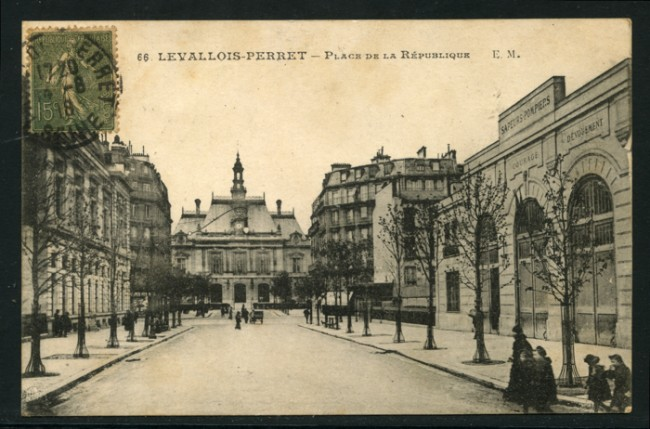 FRANCIA - 1918 - LOTTO/14196 - LEVALLOIS-PERRET PLACE REPUBLIQUE - VIAGGIATA