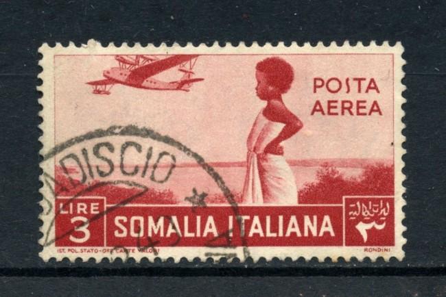 1936 - SOMALIA - 3 Lire POSTA AEREA PITTORICA - USATO - LOTTO/30213