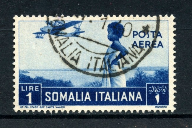 1936 - SOMALIA - 1 Lira  POSTA AEREA PITTORICA - USATO - LOTTO/30211