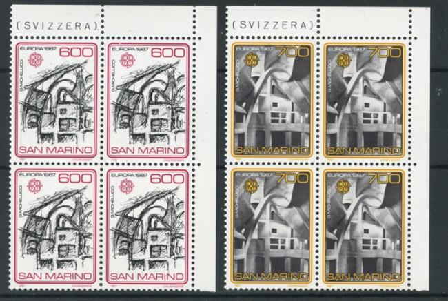 1987 - LOTTO/8073Q - SAN MARINO - EUROPA ARCHITETTURA MODERNA - QUARTINE NUOVE
