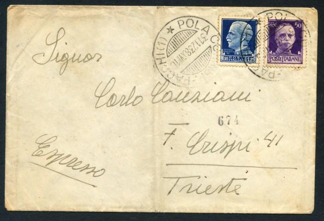 1938 - REGNO - BUSTA PER ESPRESSO DA POLA A TRIESTE - LOTTO/30416