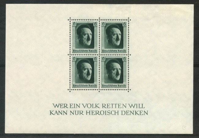 1937 - GERMANIA REICH - COMPLEANNO DI HITLER - FOGLIETTO LINGUELLATO - LOTTO/29505