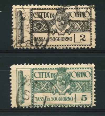 1943/45 - LOTTO/12553 - CITTA\' DI TORINO - 2/5 LIRE TASSA DI SOGGIORNO -  USATI
